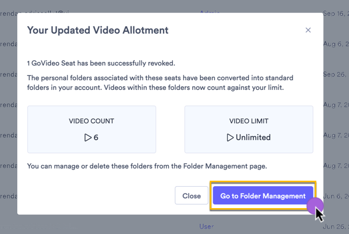 A prompt indicating how videos from the user's personal folder affects the video limit in your account, if applicable
