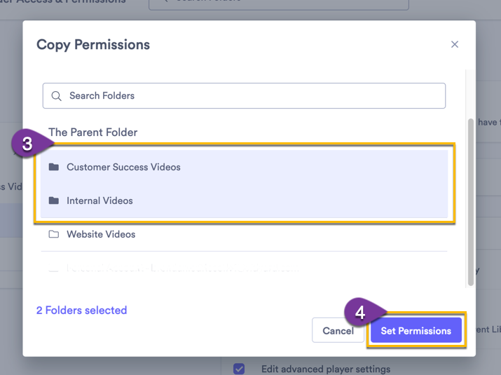 Selecting one or more folders to copy permissions to