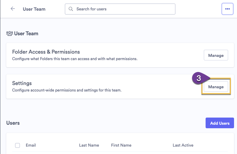 Selecting the manage button to change account-wide permissions in Team Settings