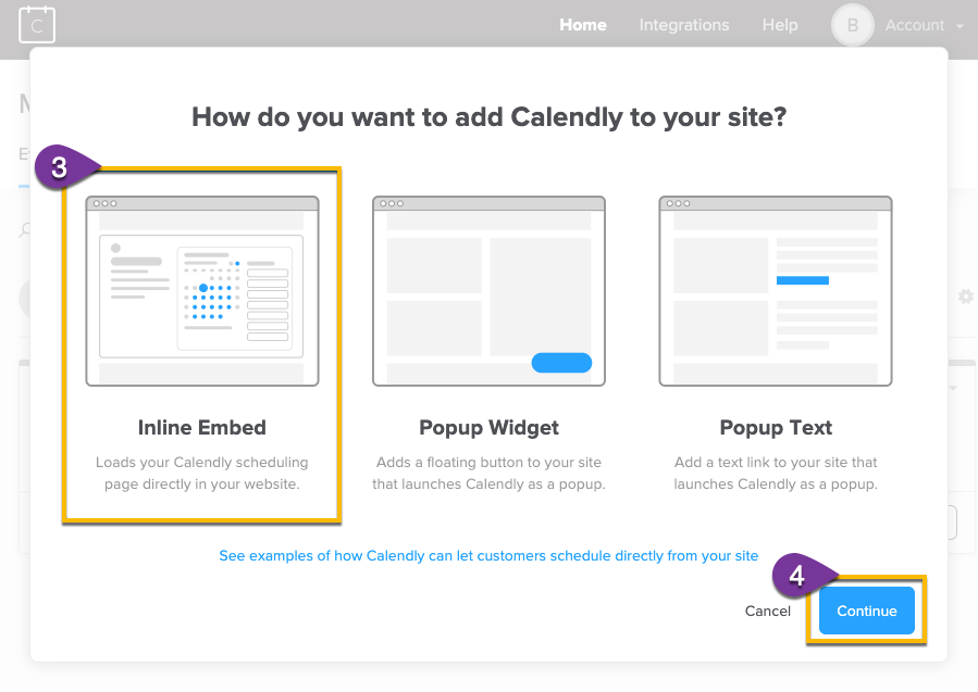 Selecting the type of embed you want to use