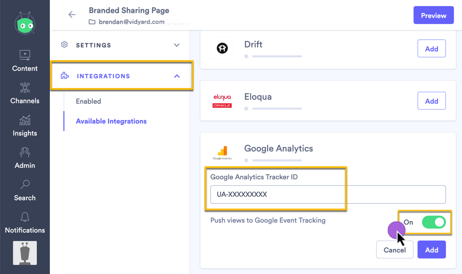 Adding Google Analytics tracking script to your Vidyard sharing page or video hub