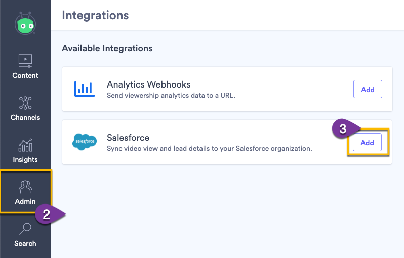 Establishing the connection to Salesforce from your Vidyard account