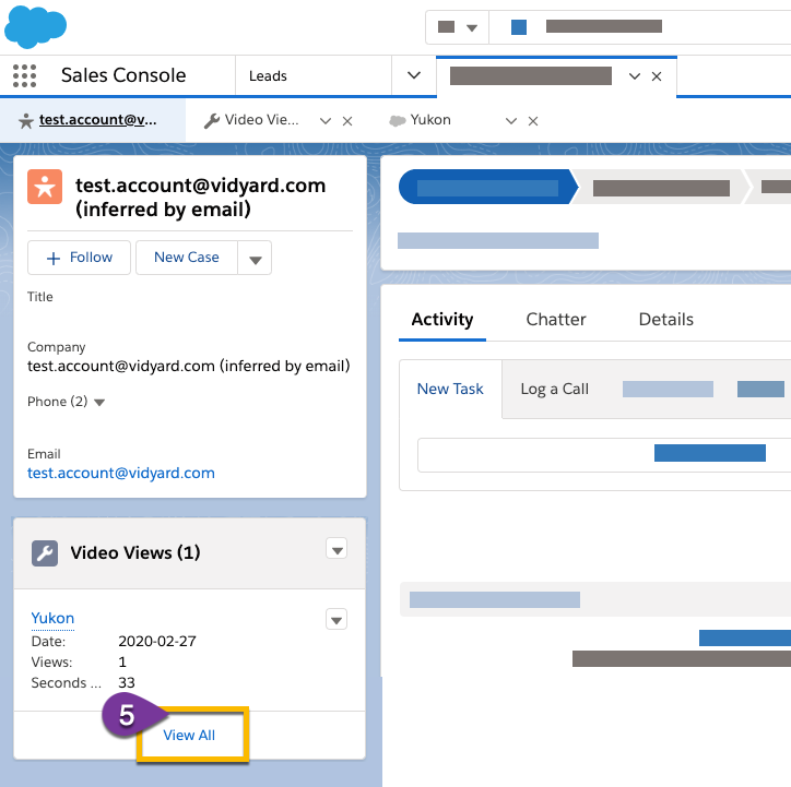Finding the video view associated with your test on the lead or contact record in Salesforce