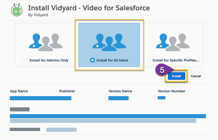 Selecting which users in Salesforce the installed package applies to
