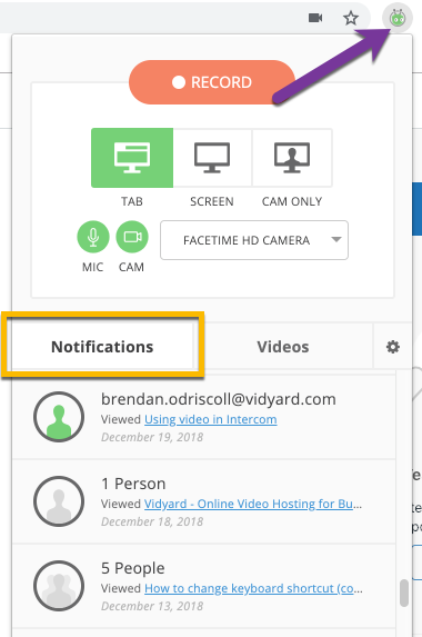 View notifications tab in the Vidyard Chrome extension