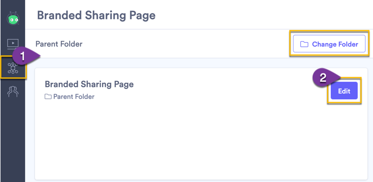 Selecting the folder with the sharing page that you want to edit, then opening the sharing page settings