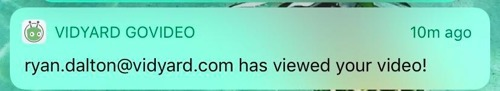 A push notification, sent to your phone whenever a video is watched