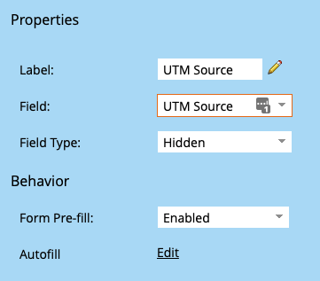 Settings in Marketo showing that a field is hidden
