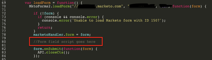 Where to paste the code in your Marketo form