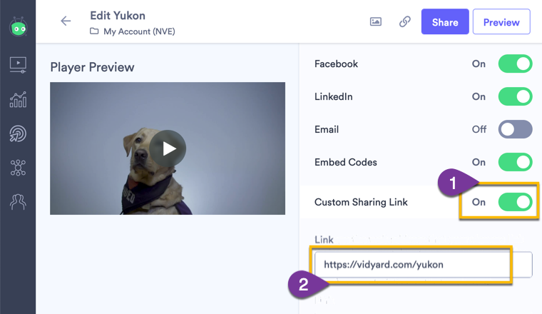 Changing the Custom Sharing Link setting to customize the web address where audiences referred to your videos are directed