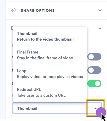 Selecting an action to perform when the video finishes