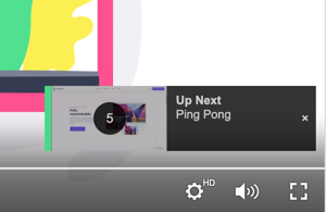 When the Up Next Preview setting is selected, a small countdown preview appears in the corner when the next video is about to start