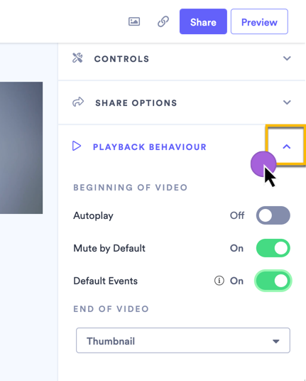 Changing the playback behavior settings on the video