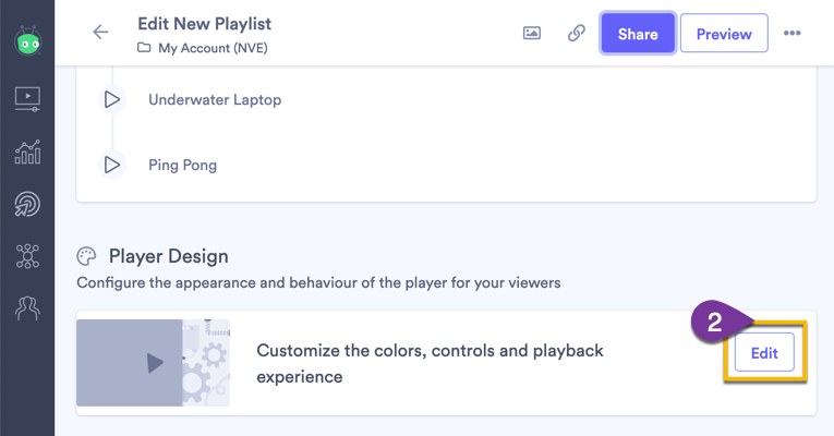 Selecting the Edit button to open the Player Design settings for the playlist