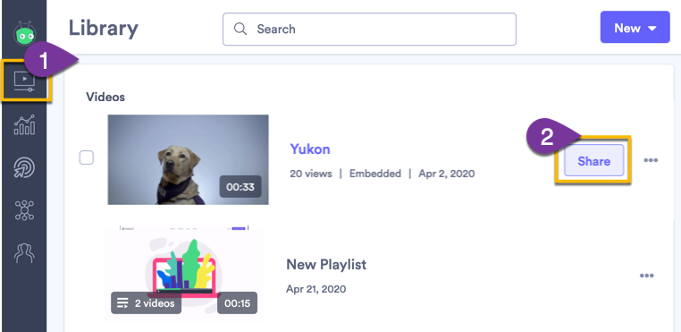Opening the sharing options for a video in Vidyard
