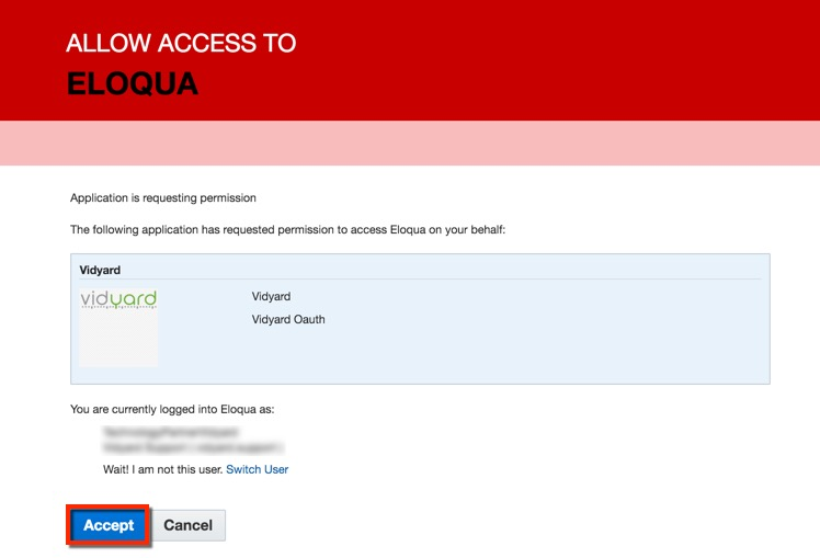 Click Accept to allow access to Eloqua.