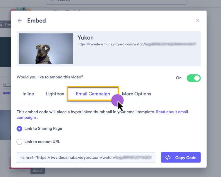 copying the email campaign embed code to add a linked thumbnail to your email templates