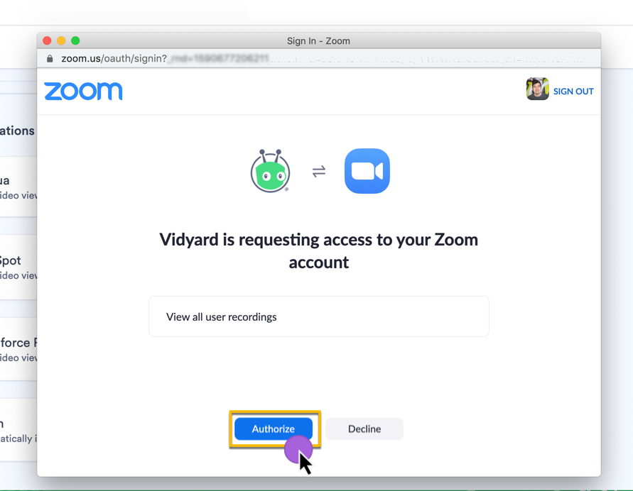 Authorizing Vidyard to access your Zoom account