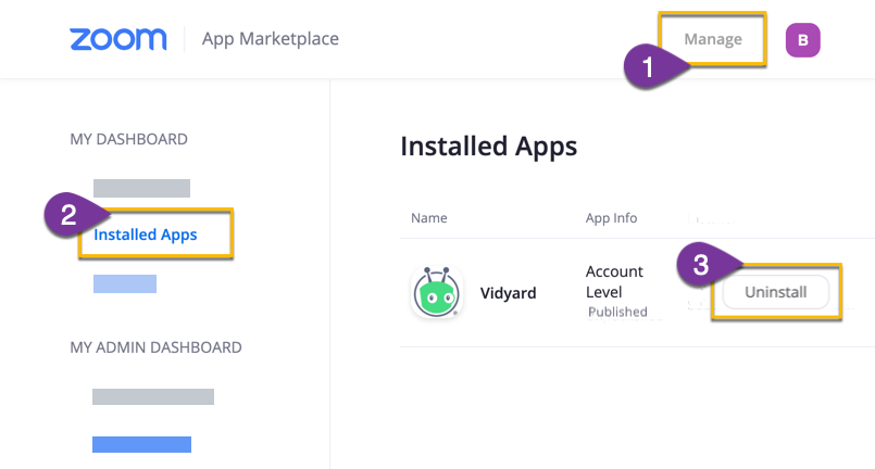 Uninstalling the Vidyard app from your list of installed apps in the Zoom Marketplace