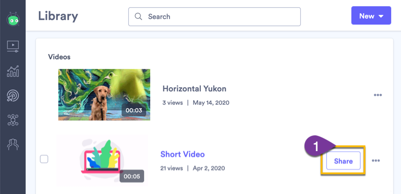 Selecting a video from your library to share