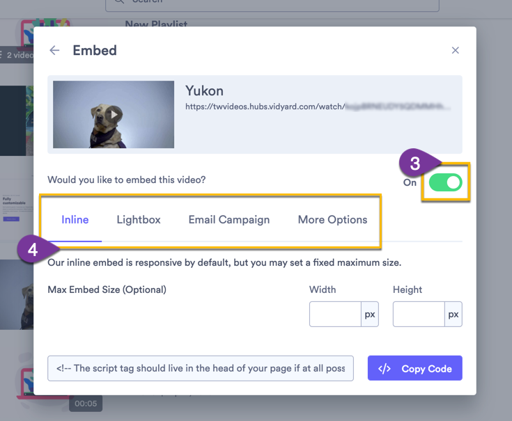 Turning the embed toggle for a video to ON, then selecting the type of embed you want to use