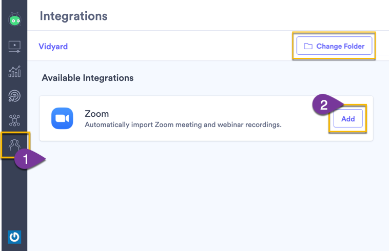 Adding Zoom to your Vidyard account on the integrations page
