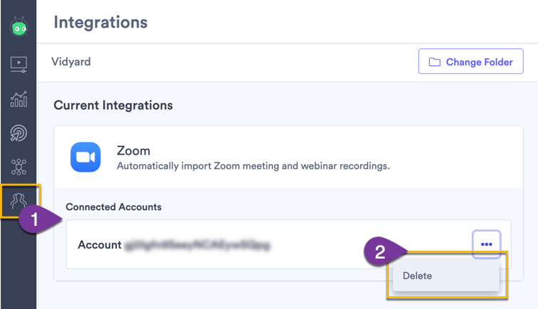 Deleting the Zoom integration from the Vidyard integrations page