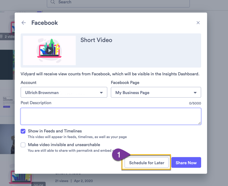 Selecting the the option to schedule a post to your Facebook page for later