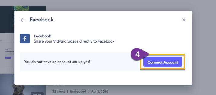 Following the prompts to connect your Facebook account to Vidyard