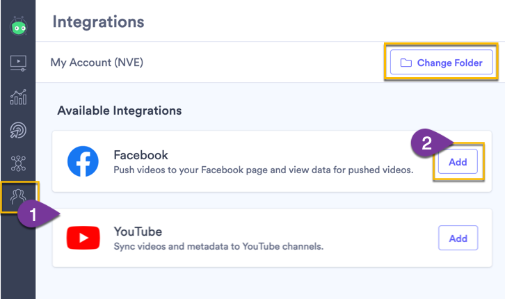 Opening the integration page in Vidyard to connect a Facebook account