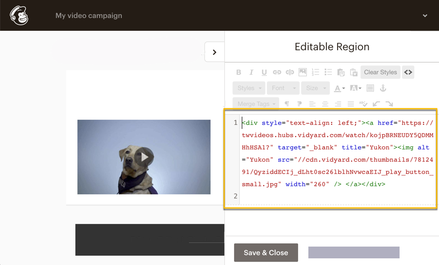 Pasting the embed code into MailChimp's email template HTML editor