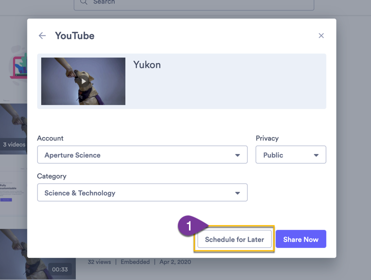 Scheduling when you video should share to your YouTube account