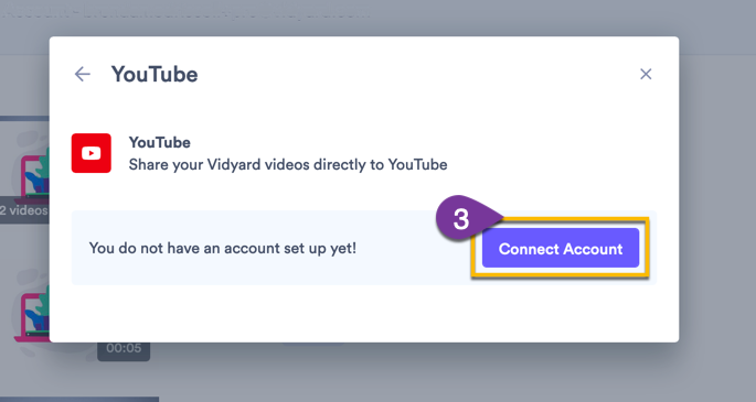 Selecting the Connect Account button to set up the integration with YouTube