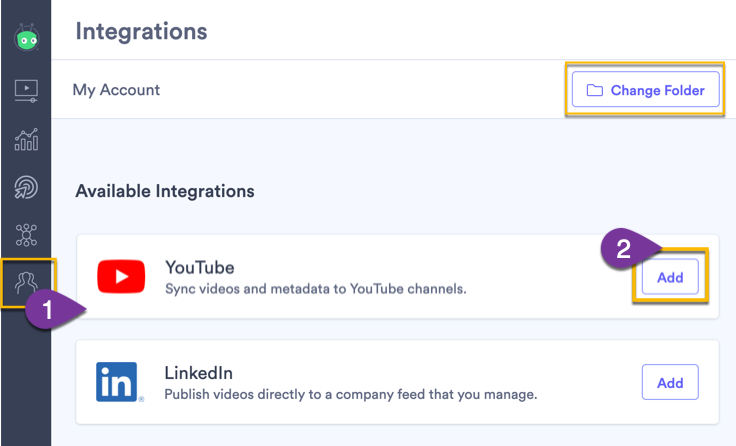 Setting up the integration with YouTube from the integration page in Vidyard