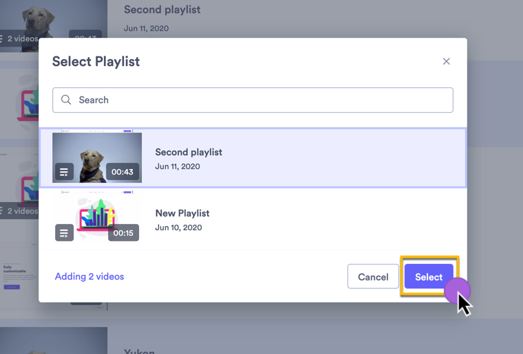 Selecting which playlist you want to add additional video to