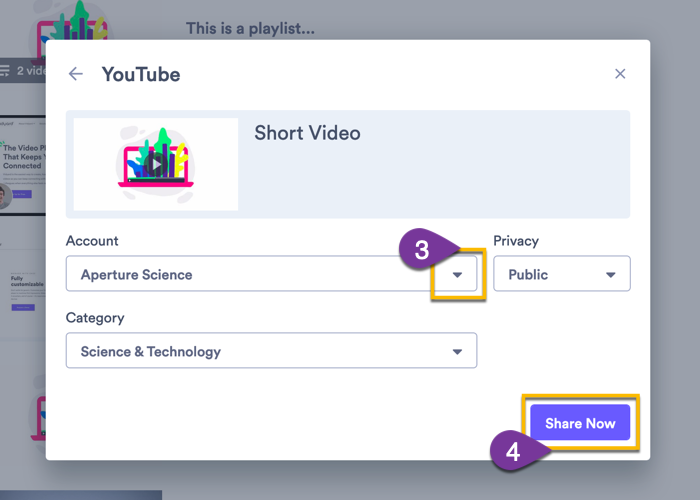 Selecting which YouTube account you want to share your video to, a category, and privacy settings, then confirming.