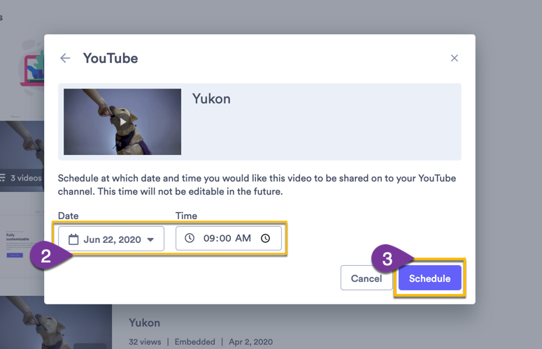 Selecting a time and date for when you video will automatically share to your channel