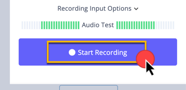 Clicking on the button to start recording