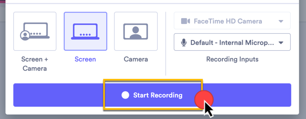 Clicking Start Recording to being recording your video