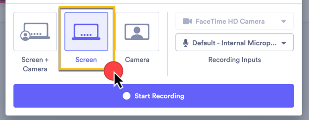 Selecting the type of video you want to record: screen, camera, or screen + camera