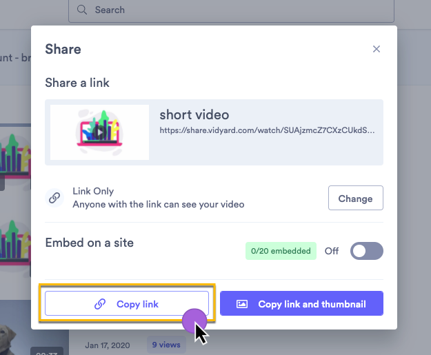 Copying the sharing link to your video