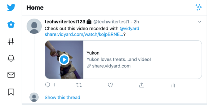 The video preview that appears on the Tweet in your followers' timelines