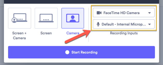 Using the recording input dropdown menus to select your camera and microphone