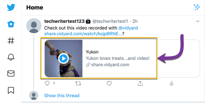 A preview of your video, including the title, thumbnail and description, in a post on Twitter