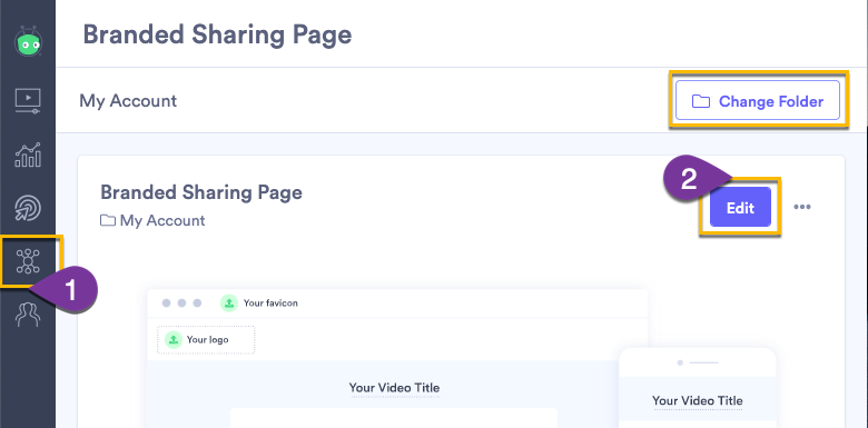 Editing your sharing page setting in a Vidyard Teams, Business or Enterprise account