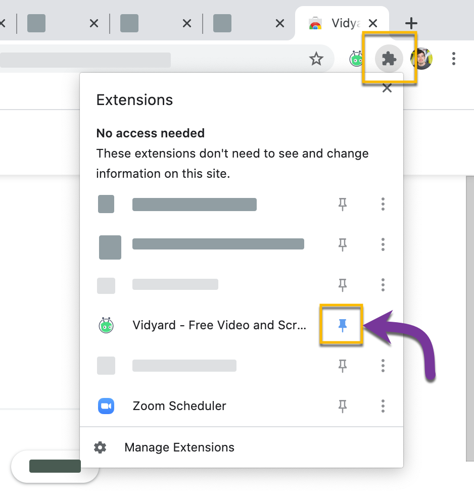In Chrome, pinning the Vidyard icon to your browser's toolbar