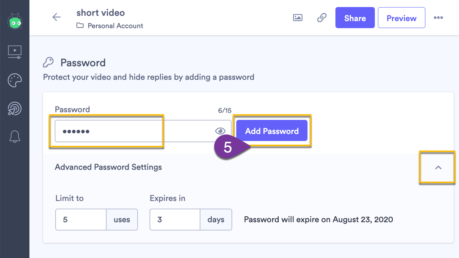 Selecting the Add Password button again once you've changed or updated the password and any advanced settings