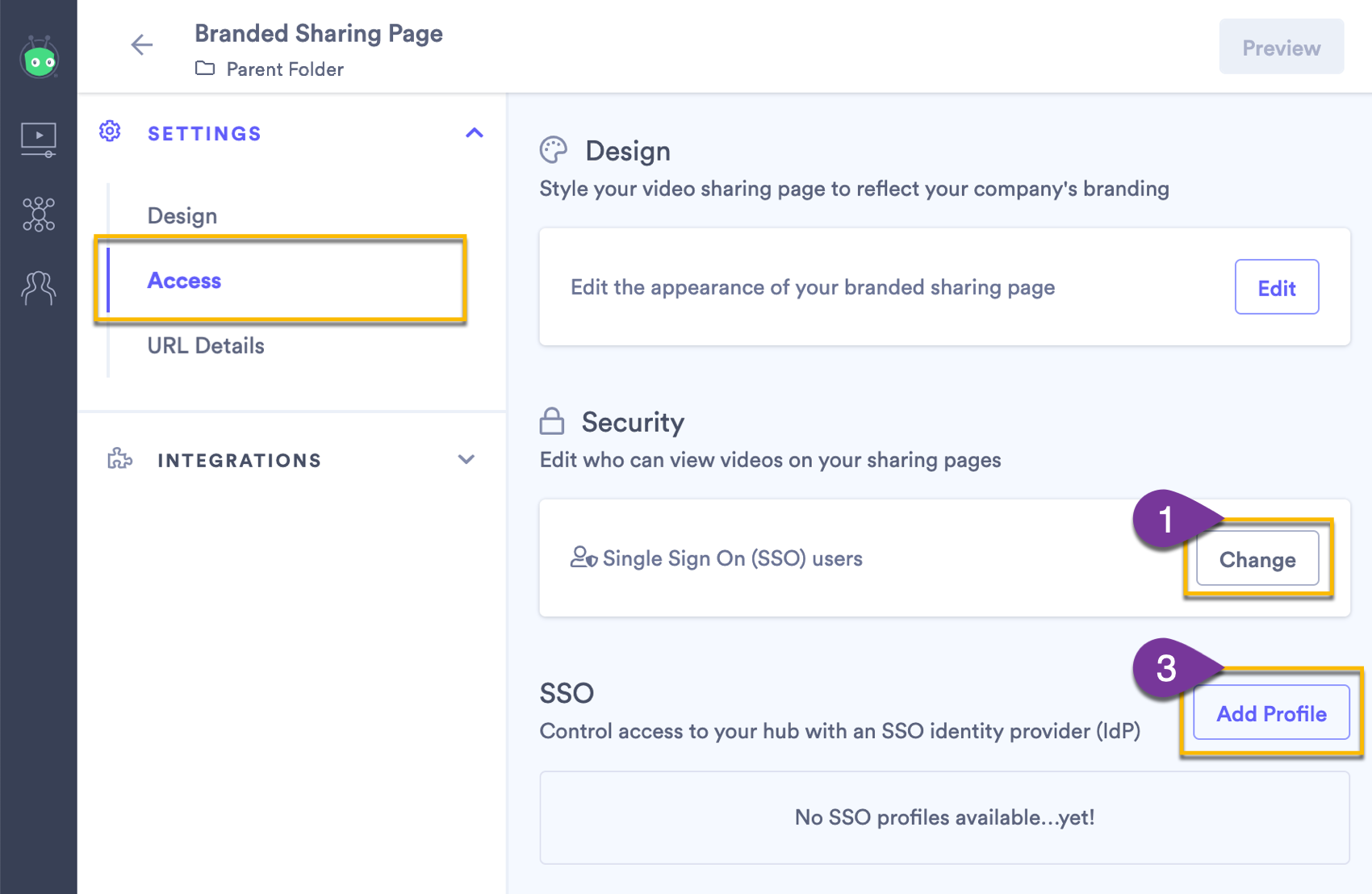 Changing the access settings on your sharing page to use single sign on