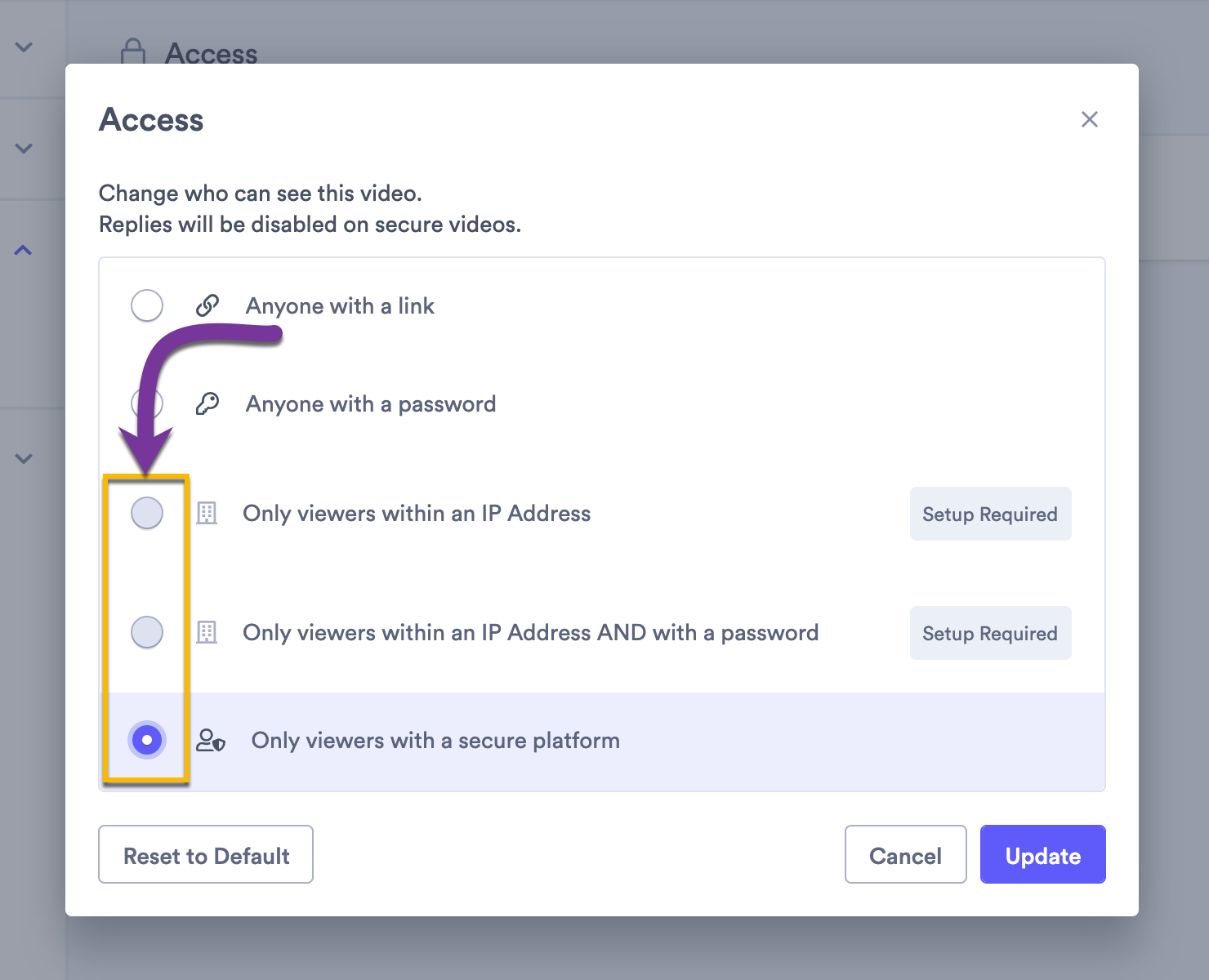 Selecting advanced access options to restrict your video to viewers based on IP address or to a secure platform