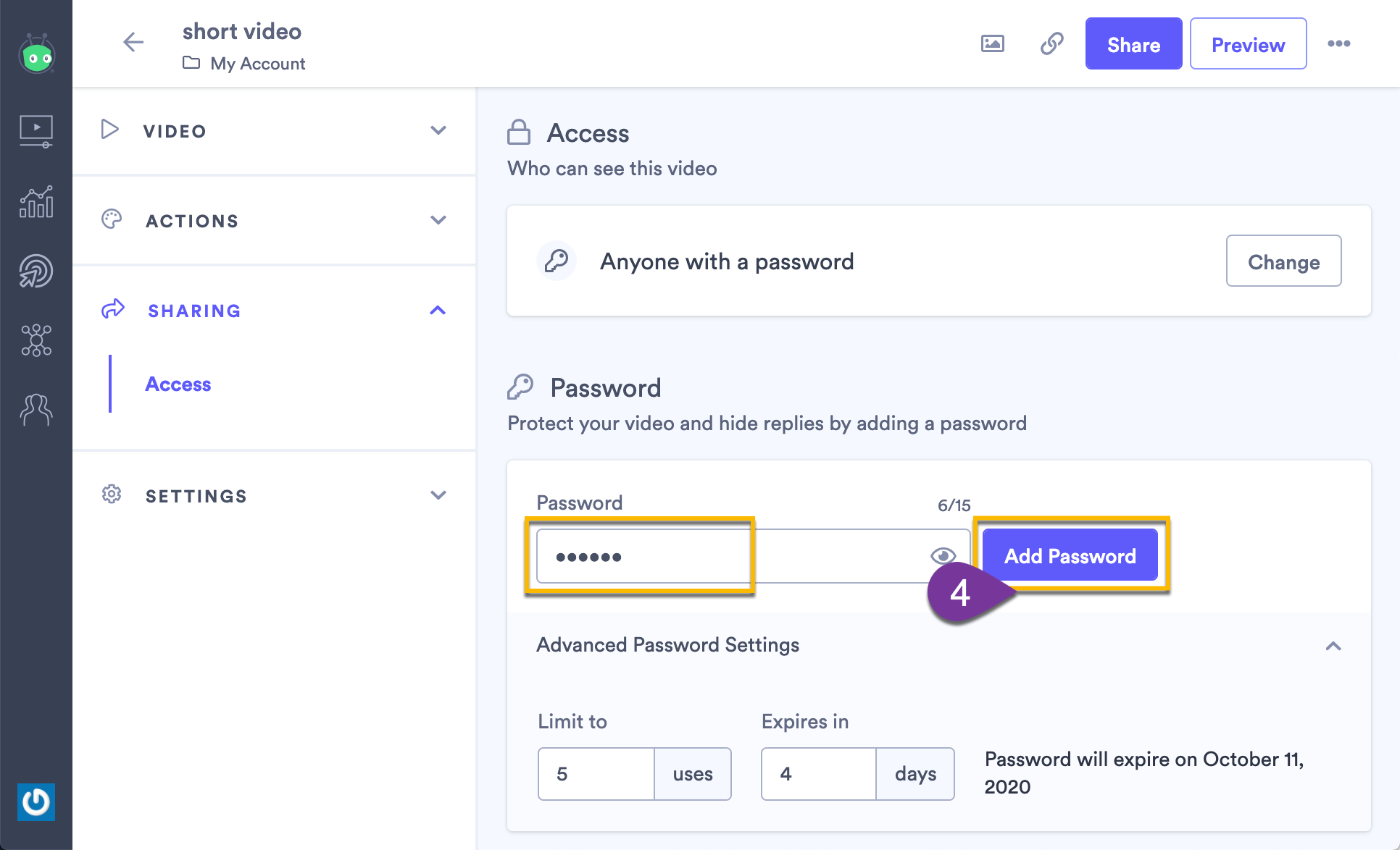 Updating your existing password, then selecting Add Password again to confirm